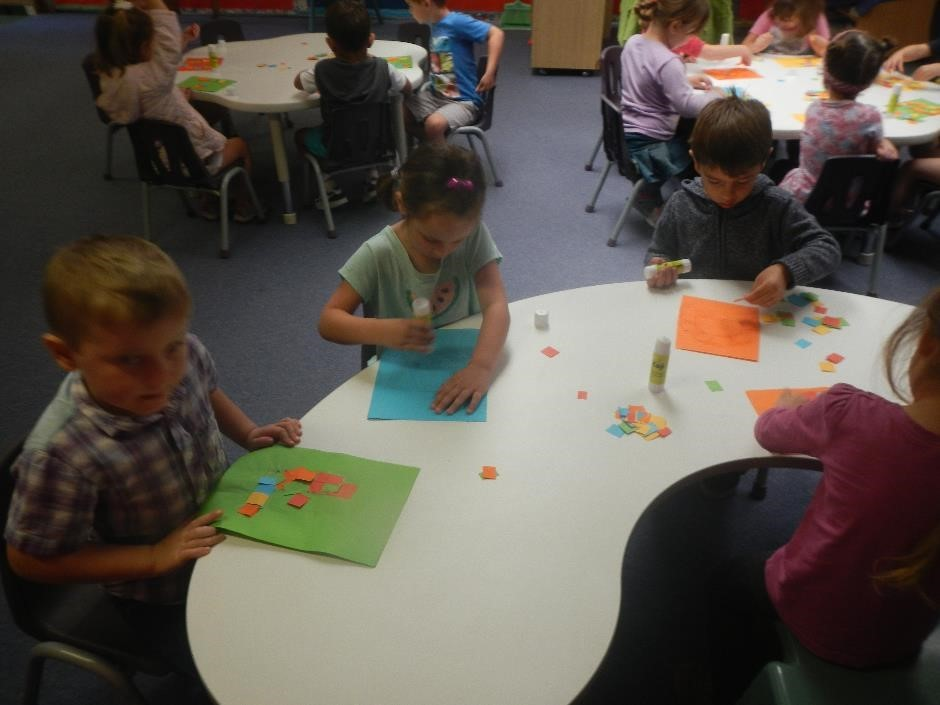 group of students doing craft activities